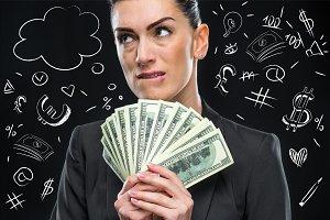businesswoman with dollar bills