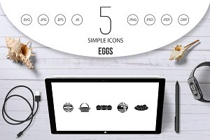 Eggs icon set, simple style