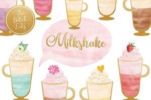 Watercolor Milkshake Sorbet Clipart