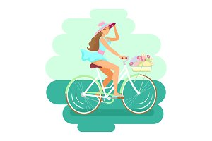 Cute Girl on bicycle. Vector, flat