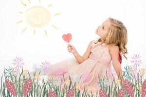 Happy girl enjoying sun