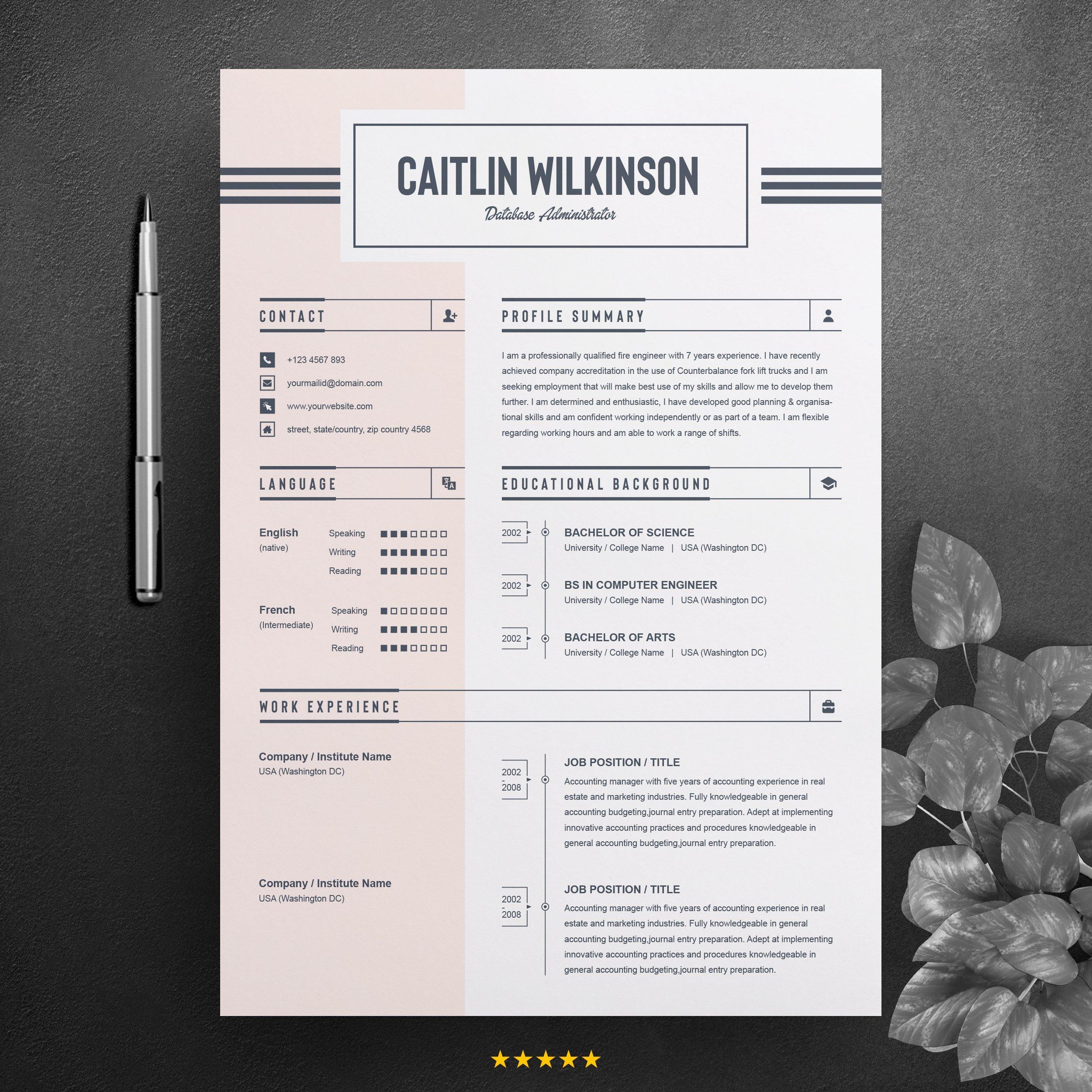 Job Resume / CV Word Template ~ Resume Templates ~ Creative Market
