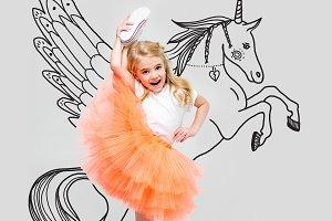 girl with hand drawn unicorn