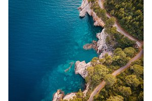 aerial view of the rocky shore of