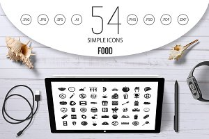 Food icon set, simple style