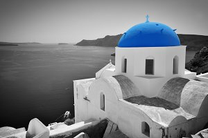 Oia town in black & white, Santorini