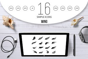 Wing icons set, simple ctyle