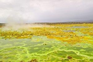 Panorama inside Dallol volcanic crat