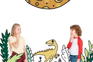 boy and girl scared by dinosaur