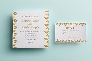 Gold and navy wedding invitation