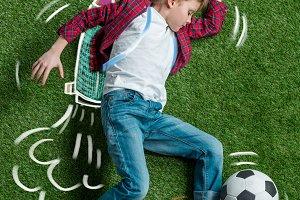 Boy wearing hand drawn jet pack