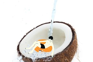 drawn man on float in tropical cocon