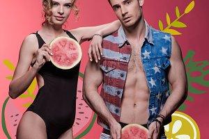 couple holding watermelon pieces