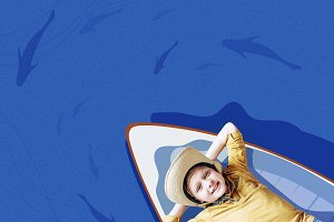 boy on floating boat