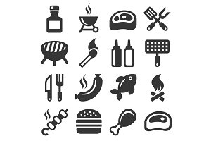 BBQ and Grilling Icons Set