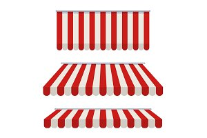 Striped awning. Awning for the cafes