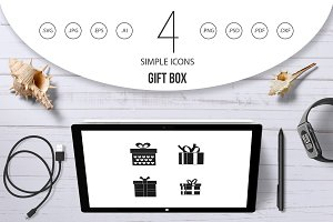 Gift box icon set, simple style