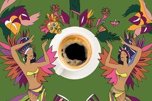 coffee with colorful brazilian theme