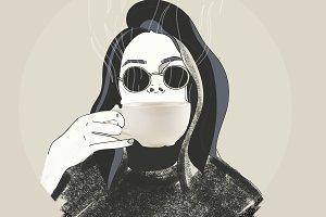 brunette girl drinking coffee
