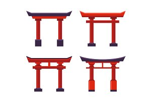 Japanese Gate Icons Set