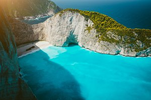 Navagio beach with Shipwreck on the