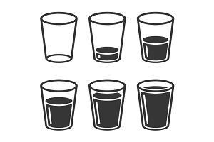 Glass of Water Icons Set