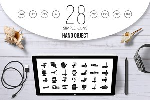 Hand object icon set, simple style