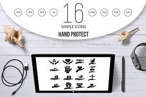 Hand protect icon set, simple style