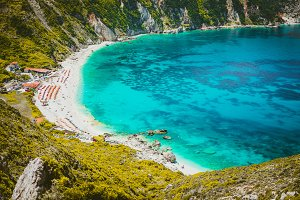 Myrtos beach with azure blue sea