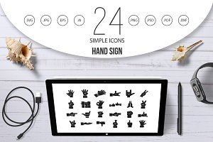 Hand sign icon set, simple style