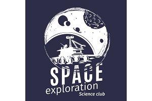 Grunge style space logo