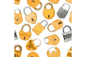 Padlock vector lock for safety and