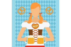 Traditional Oktoberfest woman icon