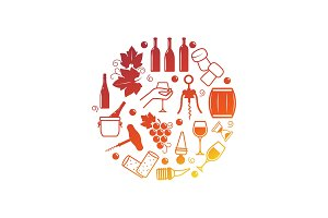 Wine icons isolated on white
