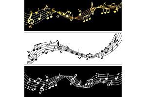 Music notes flow. Doodle music note