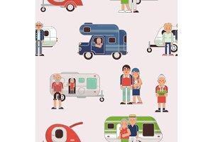 Senior travel vector elderly family