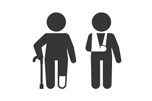 Injured Man with Crutches Icon Set