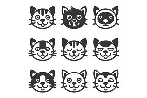 Cat Cartoon Face Icon Set