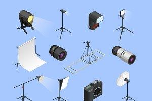 Photo studio isometric icons set