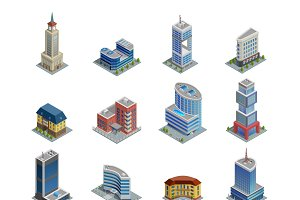 Buildings isometric icons set