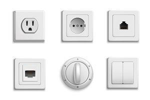 Switches and sockets realistic set