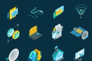 Telecommunication isometric icons