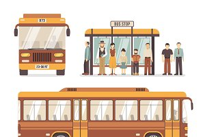 City bus stop icons set