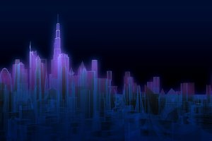 abstract glowing urban cityscape