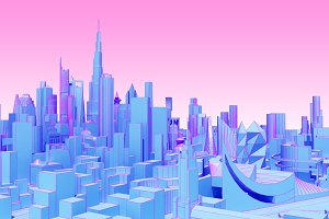 abstract city in pink blue tones
