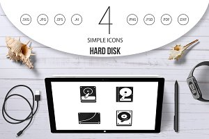 Hard disk icon set, simple style