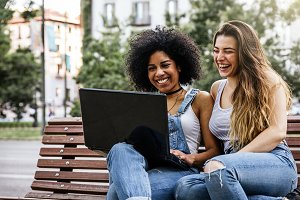 Beautiful women using a laptop