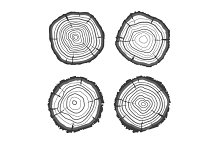 Vector tree rings collection. Flat