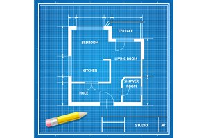 Vector architect blueprint. Flat