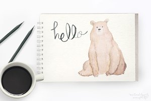 Watercolor Bear Digital Graphics